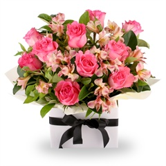 Pretty in Pink - Perfect pink short-stemmed roses and white alstromeria delicately arranged in a gorgeous gift box.