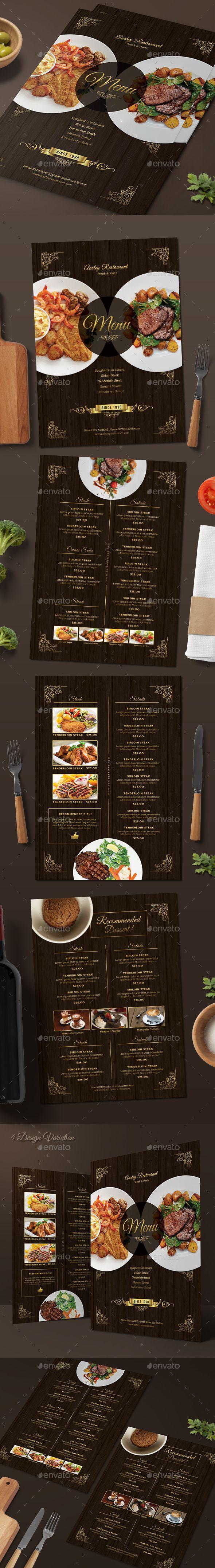 Elegant Restaurant Menu - Food Menus Print Templates | Download: https://graphicriver.net/item/elegant-restaurant-menu/18590107?ref=sinzo