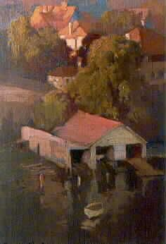 The Boatsheds, Mosman, Sydney Dorrit Black (23 December 1891 – 13 September 1951). Australian painter and printmaker of the Modernist school, known for being a pioneer of Modernism in Australia (low res)
