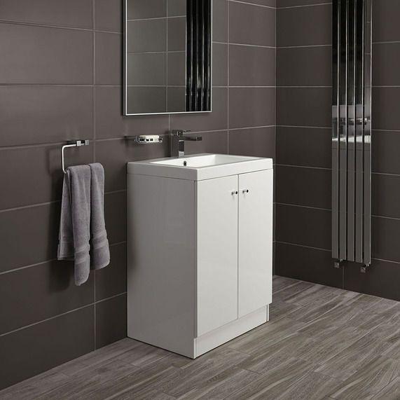 Alpine Duo 600 basin and floorstanding vanity unit - gloss white | bathstore