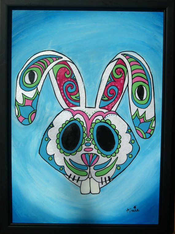 Original Acrylic Sugar Skull Painting On Mount by ArniesArtwork, £80.00