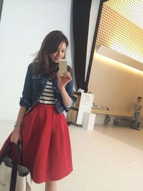 ●Gジャン…MOUSSY ●スカート…SHINZONE ●ボーダートップス…Noela