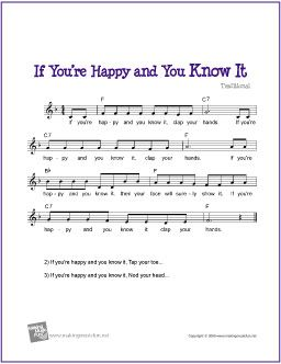 If You're Happy and You Know It | Free Sheet Music for Guitar (Lead Sheet) - http://www.makingmusicfun.net/htm/f_printit_free_printable_sheet_music/if_youre_happy_leadsheet.htm
