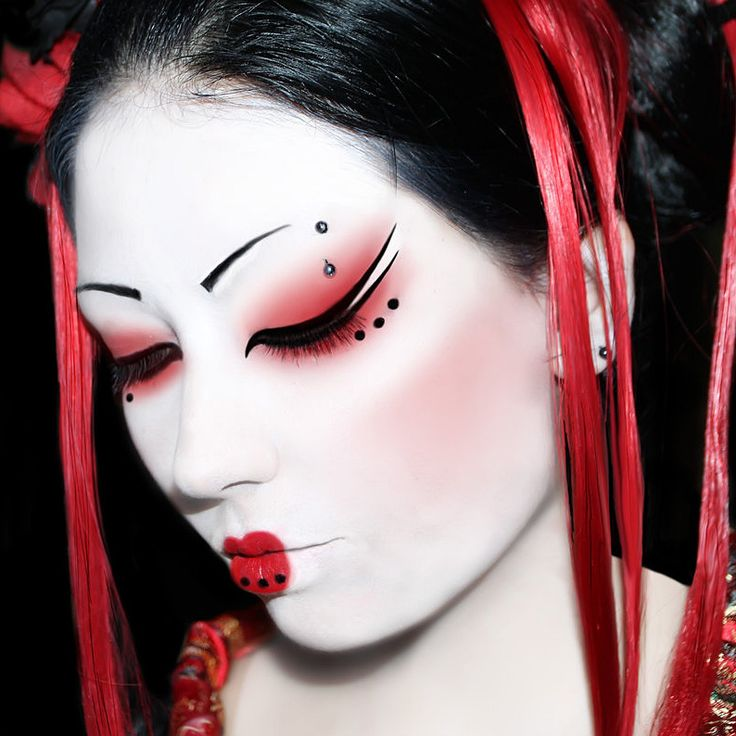 red geisha makeup