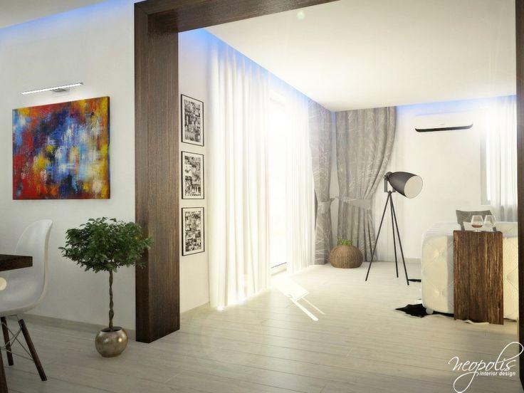 Presvetlený interiér - Interiér domu s použitím prírodných materiálov