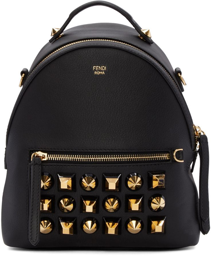 FENDI Black Studded Messenger Backpack. #fendi #bags #leather #lining #backpacks #