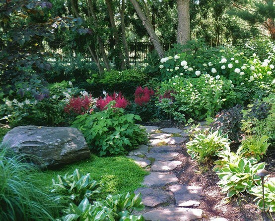 Beautiful shade garden by Sisson Landscaping.