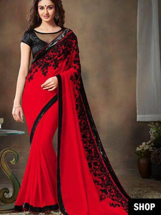 fd0d8b831ca red and black saree!!