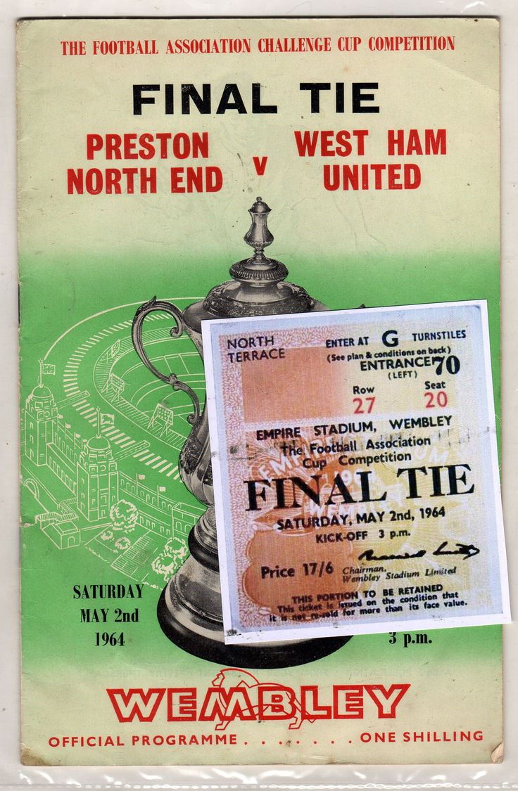 1964 fa cup final West Ham United v Preston North End,hammers win. For some reason I really like this programme. Click visit to see a short excerpt from the Match.