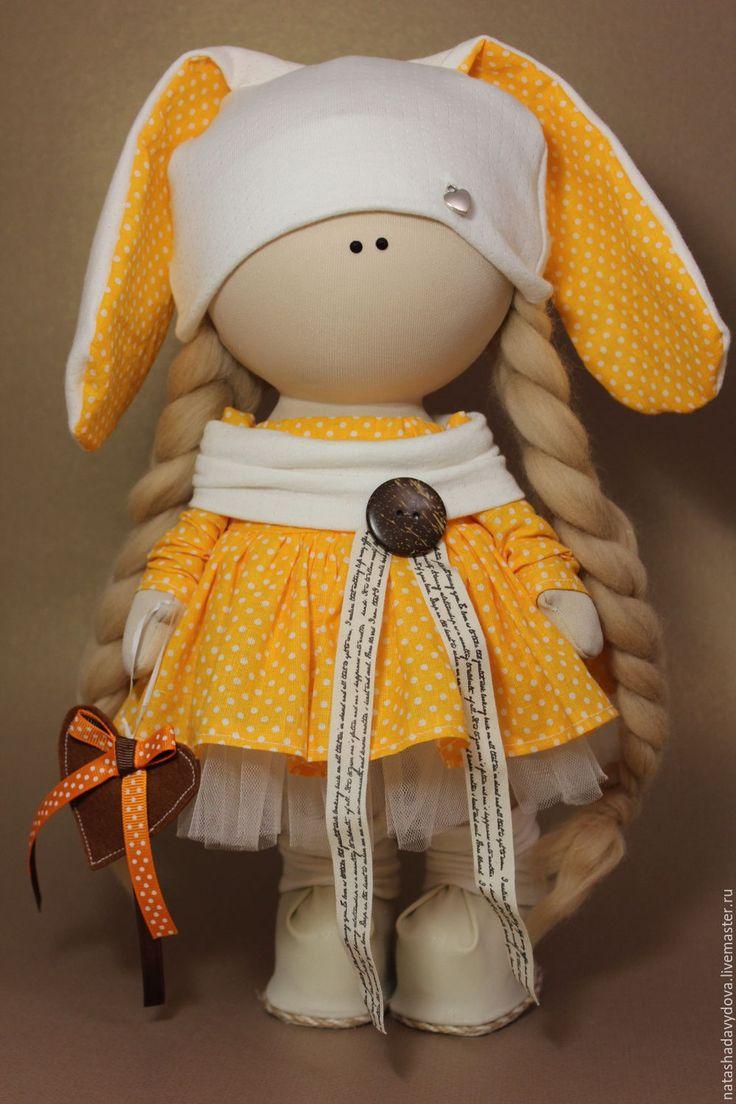 Купить Интерьерная кукла зайка - оранжевый, кукла ручной работы, зайка, зайка девочка