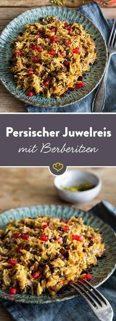 Wie kleine Edelsteine blinken Berberitzen und Granatapfel im persischen Juwelenreis und schmecken zwischen Safranreis und Pistazien herrlich säuerlich.