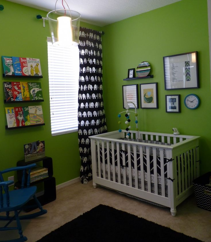 nursery. love the green with the black and white prints