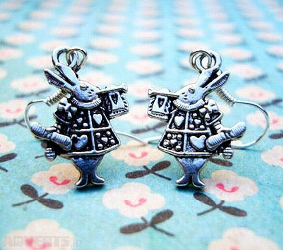 Alice in Wonderland white Rabbit Silver by ANGELxFAIRY on Etsy