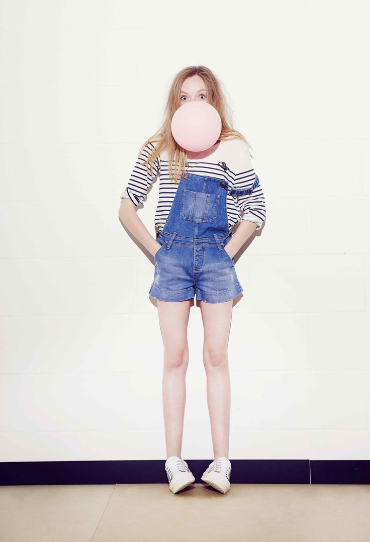 Classic street style with a breton top and dungarees from Une Fille for spring 2016 teen fashion