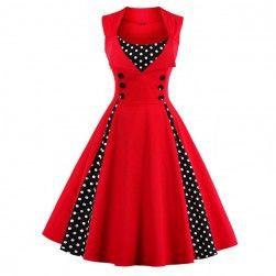 Retro šaty s puntíky - červená barva