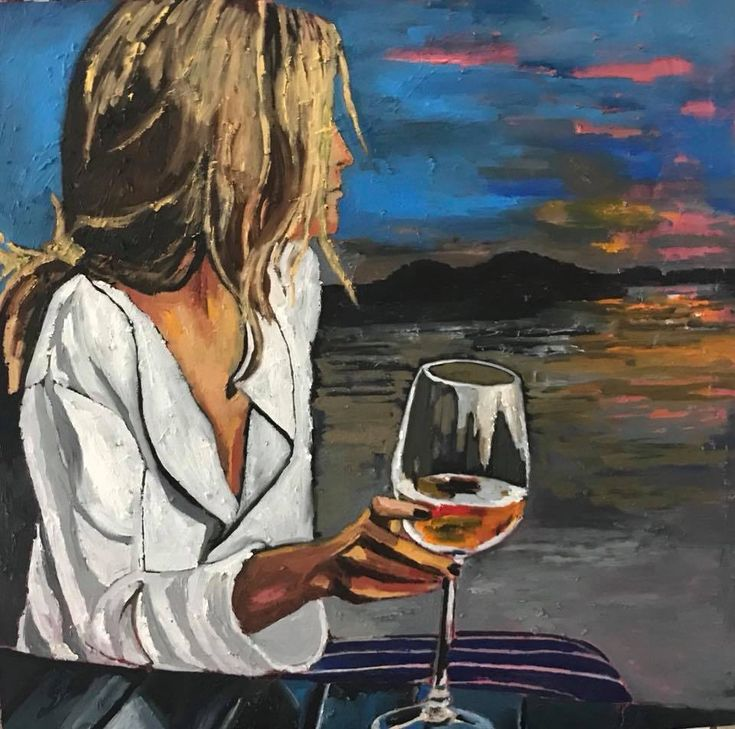 Картинки девушка с бокалом вина нарисованная