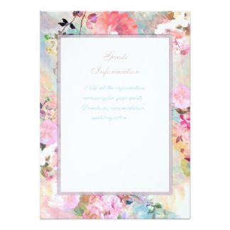 ロマンチックなピンクの水彩画の花の結婚式の挿入物 11.4 X 15.9 インビテーションカード
