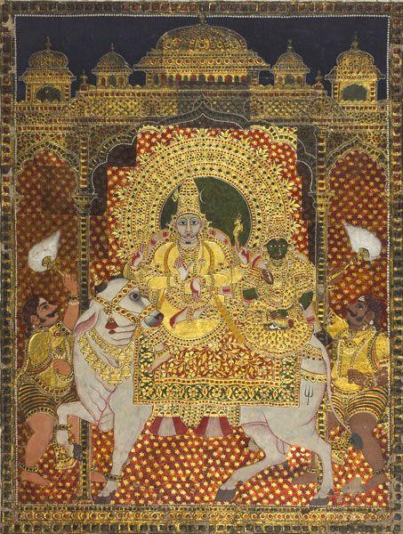 Shiva and Parvati on Nandi, Tanjore style, 19th c.