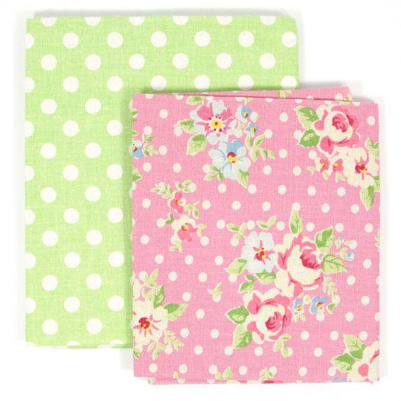Polka Dots & Roses  2 Fat Quarters  Zakka Craft by 3BagsFulled