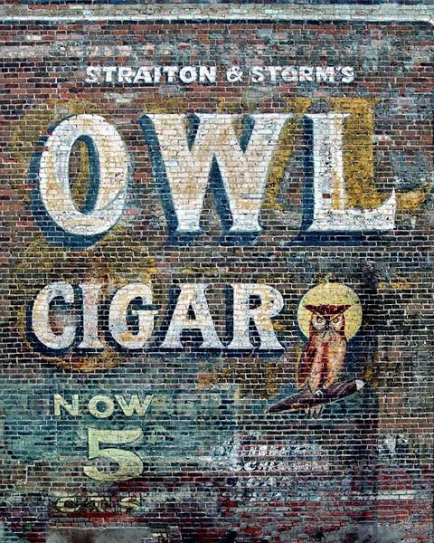 Fine Art Photograph of a Ghost Sign for Owl Cigar  http://www.roadsidegallery.com/store/catalog/old-buildings-and-walls/-/ghost-sign-owl-cigar-socorro-new-mexico/