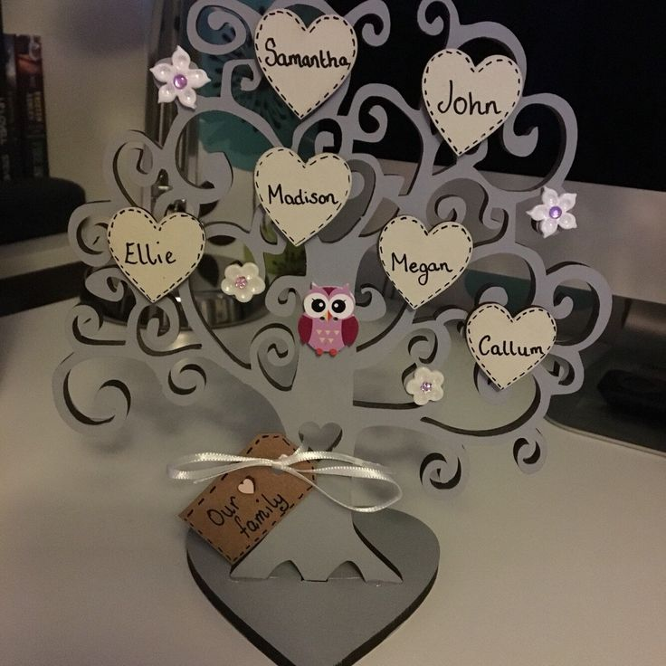 A personal favourite from my Etsy shop https://www.etsy.com/uk/listing/264361550/family-tree-freestanding-tree-decoration