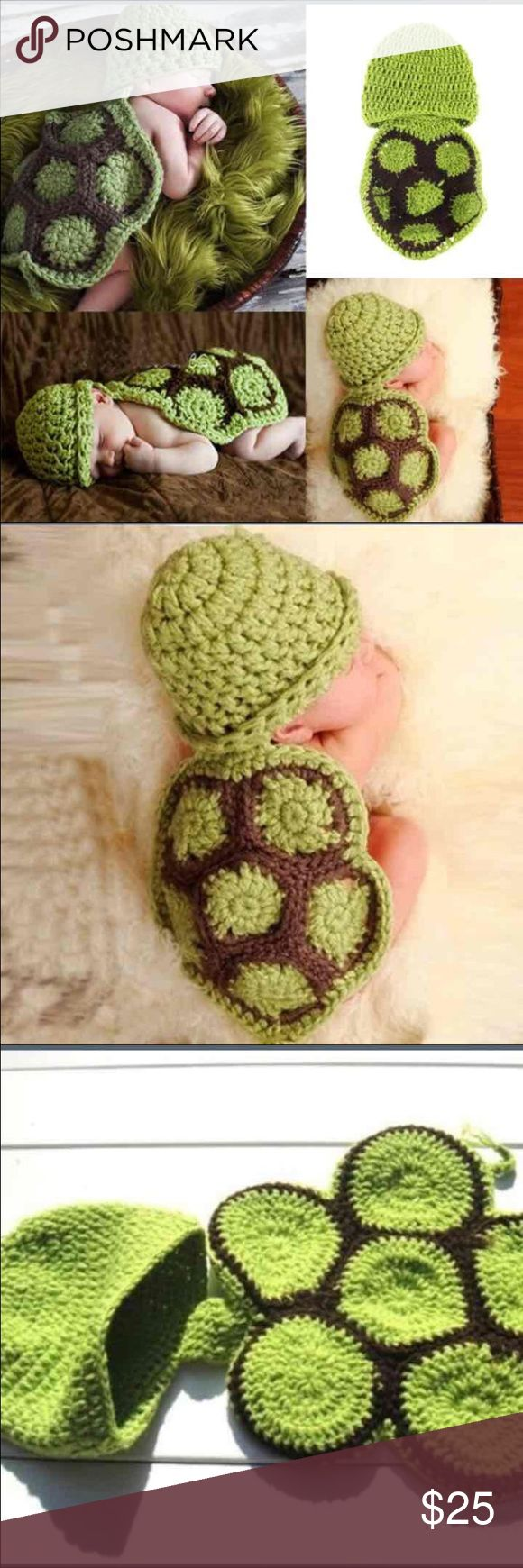 Adorable turtle baby outfit prop Adorable crotchet turtle photo prop for newborn pictures Costumes