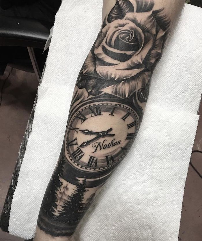 1001 Ideas And Pictures About Tattoo Arm Hand With A Very Large Black Tattoo With A White Rose And With A For In 2020 Sleeve Tattoos Arm Tattoo Cool Arm Tattoos