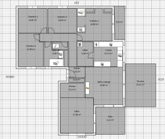 plan maison plain pied 4 chambres 130m2