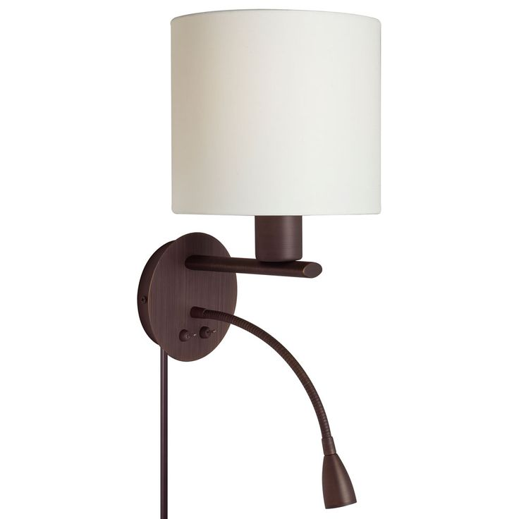 Wall Sconce With Gooseneck LED Reading Lamp, Oil Brushed Bronze, Cream  Fabric Shade