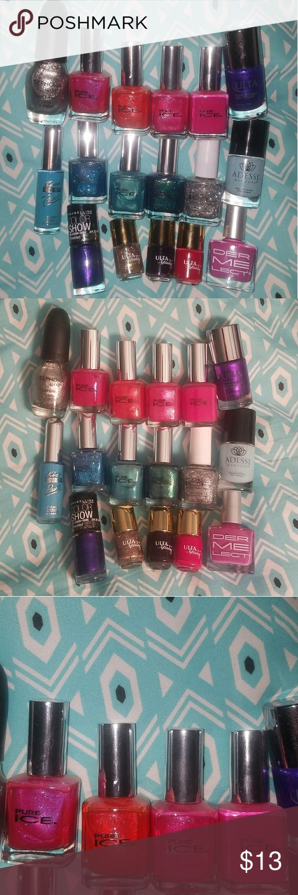 Nail Polish Bundle! Cleaning out my collection of nail polish and getting rid of a lot of colors that I seem to have multiples of lol!   Brands include: Pure Ice, Sephora, ULTA Beauty, Dermalect, Kiss, Maybelline, and Adesse Makeup