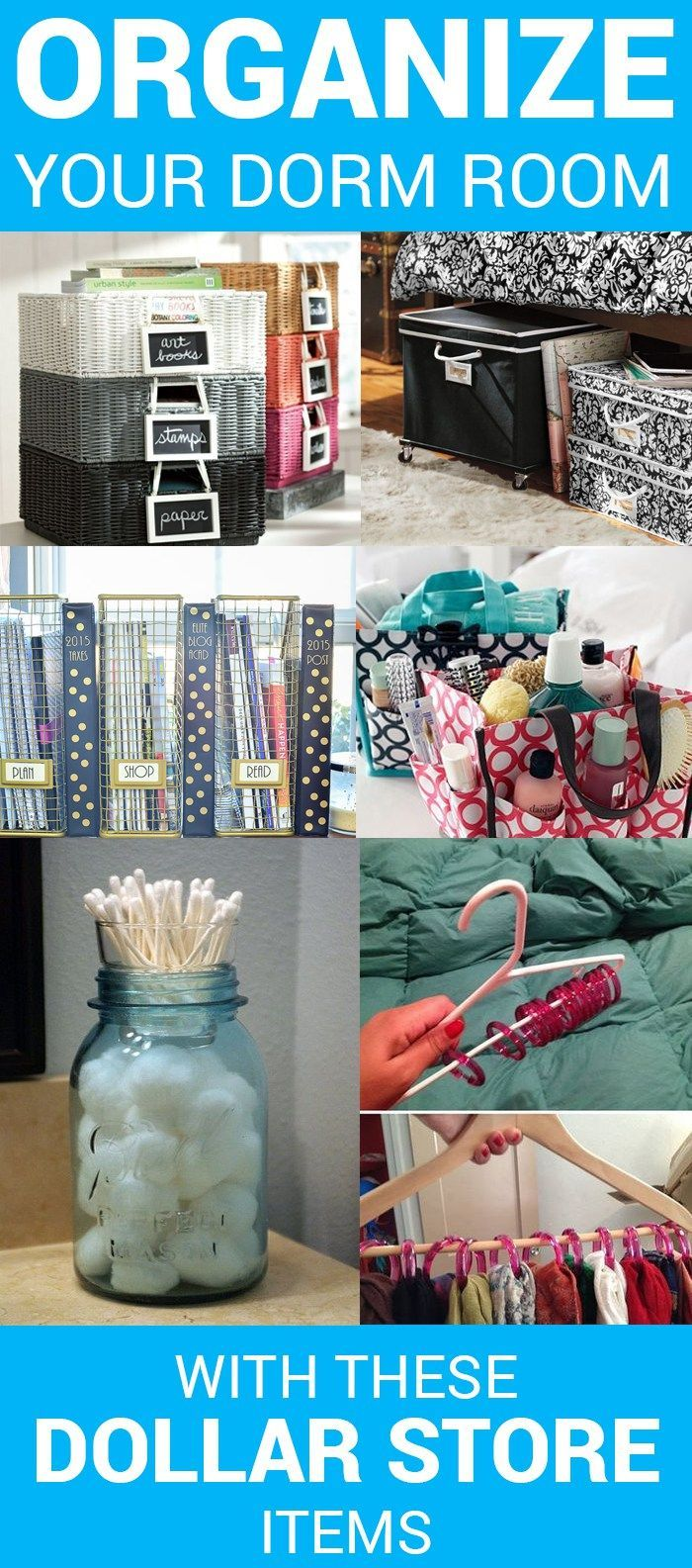 Dollar tree items to help keep your dorm room organized.