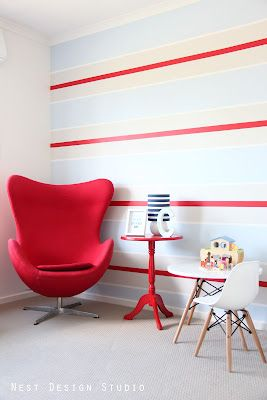 Striped Nursery Wall.