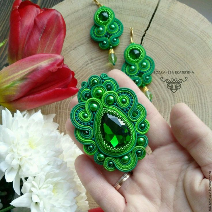 Купить Комплект сутажных украшений Пробуждение - ярко-зелёный, зеленый, изумрудный, зеленая брошь