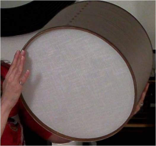 "diy drum shade for ugly apartment light fixtures (""boob"" lights as someone aptly put it in the comments section, lol)"