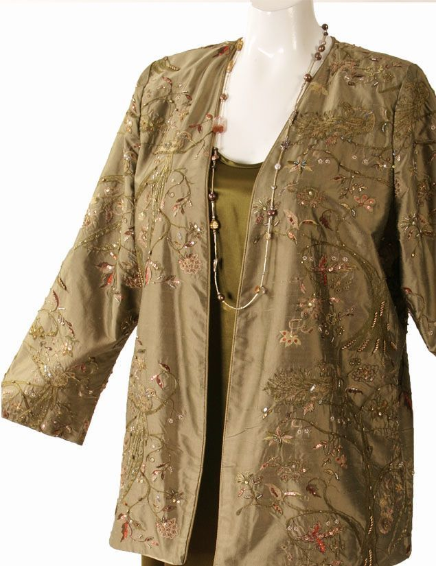 Plus Size Special Occasion Jacket Embroidered Beaded Silk Bronze  SHOP NOW: Unique jackets for women Sizes 14 - 36, mother of the bride, special occasion, artwear, elegant and unique women's clothing,xoPeg #PeggyLutzPlus #PlusSize #style #plussizestyle #plussizeclothing #plussizefashion #womenstyle #womanstyle #womanfashion  #couture #divastyle #beadedjackets