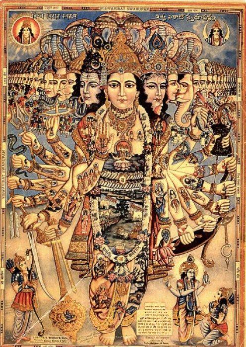 "The Universal form of Lord Krishna, virat rupa. ""Time I am, destroyer of worlds."" http://vedabase.net/bg/11/32/en1"
