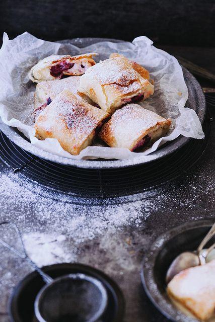 Cherry and Cream Cheese Strudel with Vanilla Sauce