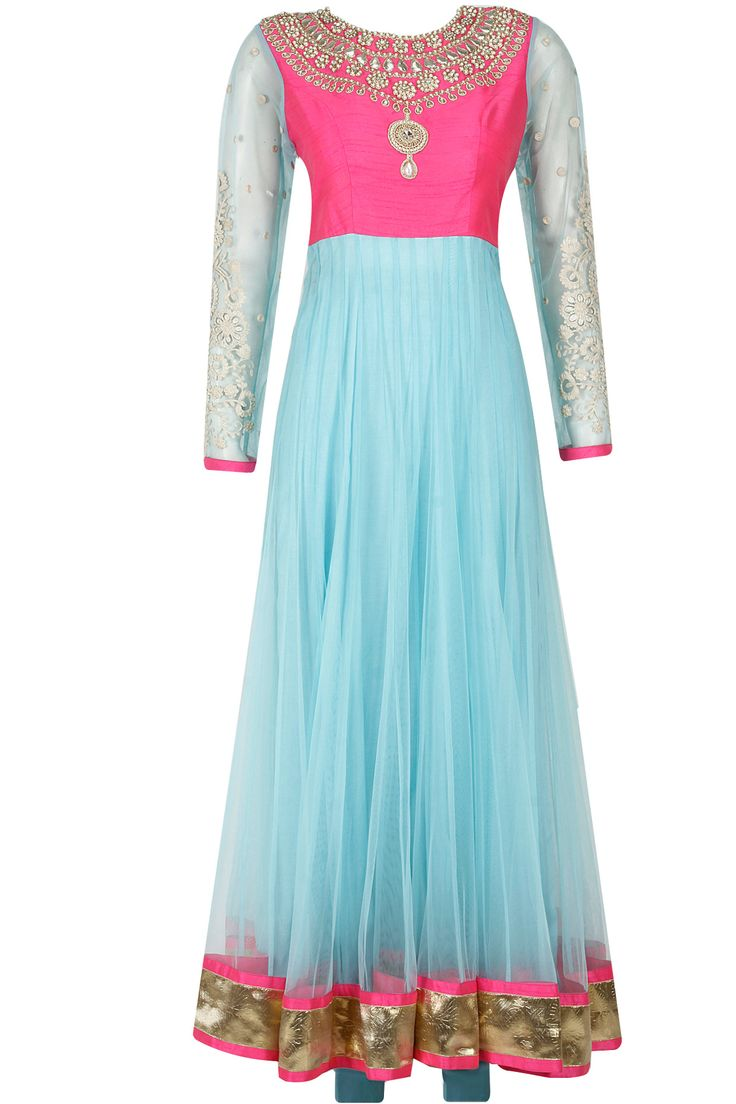 Pink and blue zardozi and gota embroidered anarkali set by Surabhi Arya. Shop now only at www.perniaspopupshop.com! #perniaspoopupshop #surabhiarya #pink #blue #zardozi #embroidered #anarkali #ethnic #designer #clothes #fashion #love #shopnow #happyshopping