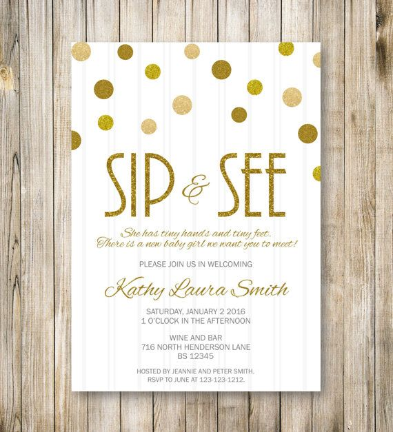 Gold Glitters SIP and SEE Invitation, Gold Sip & See Party Invite, Meet the Baby, Baby Girl Boy Shower, Announcement, Diy Printable Digital