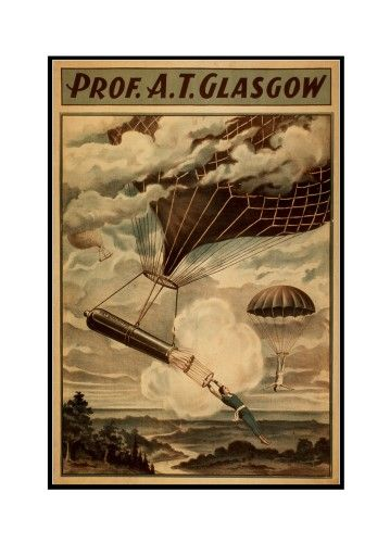 Glasgow Hot Air Balloon Circus - Vintage Theater Advertisement (12x18 Framed Gallery Wrapped Stretched Canvas), Multi