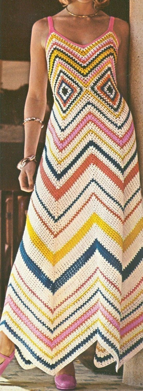 Vintage 1970s Boho Dress Chevron Crochet Maxi Sun by cemetarian