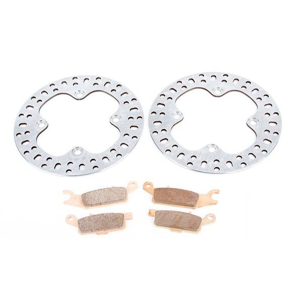 2007 2008 2009 2010 2011 Yamaha Grizzly YFM700 Rear Brake Pads & Rotors Discs, Silver stainless steel