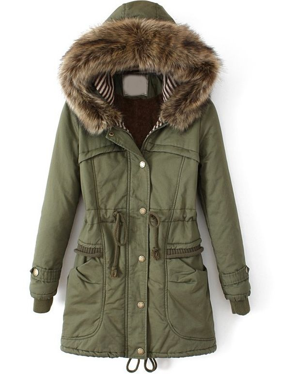 Army Green Faux Fur Hooded Drawstring Slim Coat - Sheinside.com: