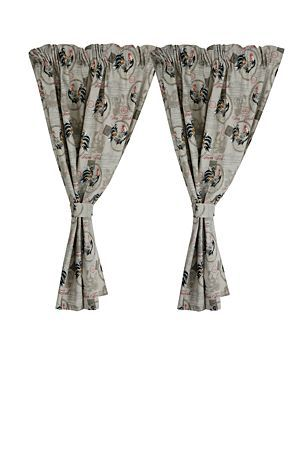 "This cafe curtain 2 pack is made with polycotton, has an antique script and rooster print and includes tie backs. These short tapered curtains are perfect for dressing a small window. Measures 110x120cm.<div class=""pdpDescContent""><BR /><BR /><b class=""pdpDesc"">Fabric Content:</b><BR />100% Cotton<BR /><BR /><b class=""pdpDesc"">Wash Care:</b><BR>Gentle cycle cold wash</div>"