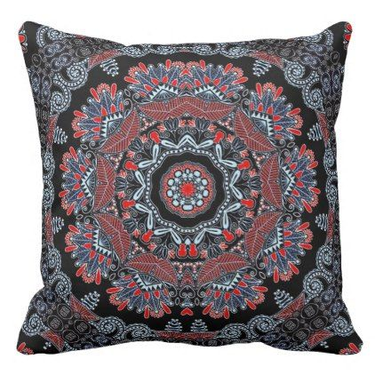 Elegant Grey & Red Mandala Throw Pillow - pattern sample design template diy cyo customize