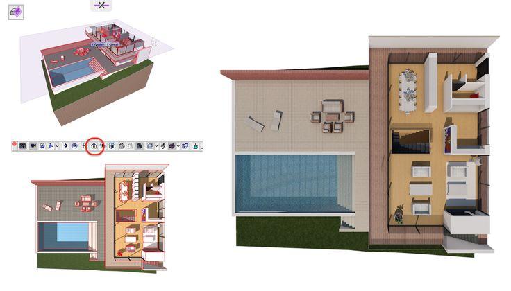 Maak een open gesneden interieur rendering door de 3D Cut Away te gebruiken. Sleep het schaartje naar de juiste hoogte en kijk vervolgens loodrecht boven in met Look to Perpendicular (Windows > Toolbars > 3D Visualisation)