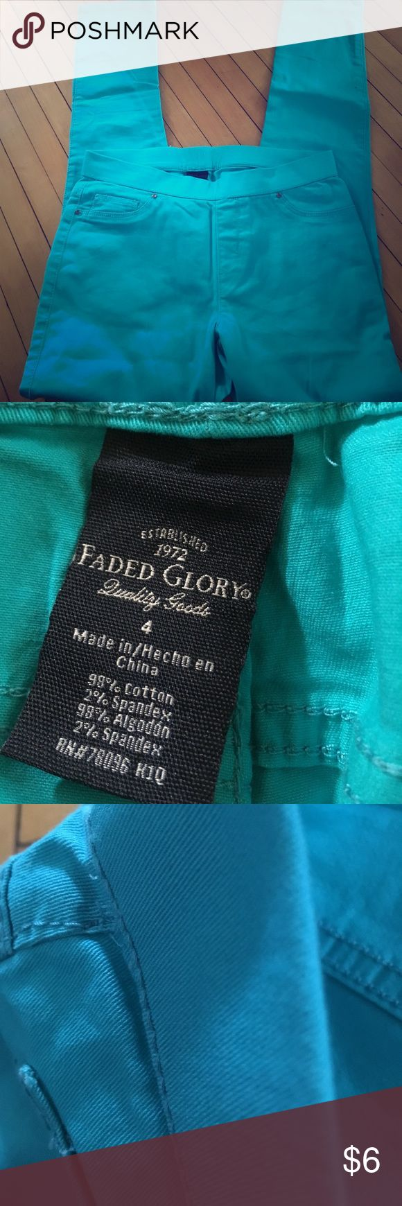Faded glory women's skinny pants size 4 Blue/blue green/teal colored size for women's faded glory brand professional pants. Skinny leg. 98% cotton 2% spandex made in China Faded Glory Pants