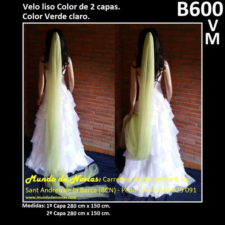 Elegante Velo de Novia de Tul liso de COLOR, de la marca Novias Ukraine. Se hacen envíos a toda España y también se pude pedir CITA para venir a probarlo en tienda (WhatsApp 646829091).