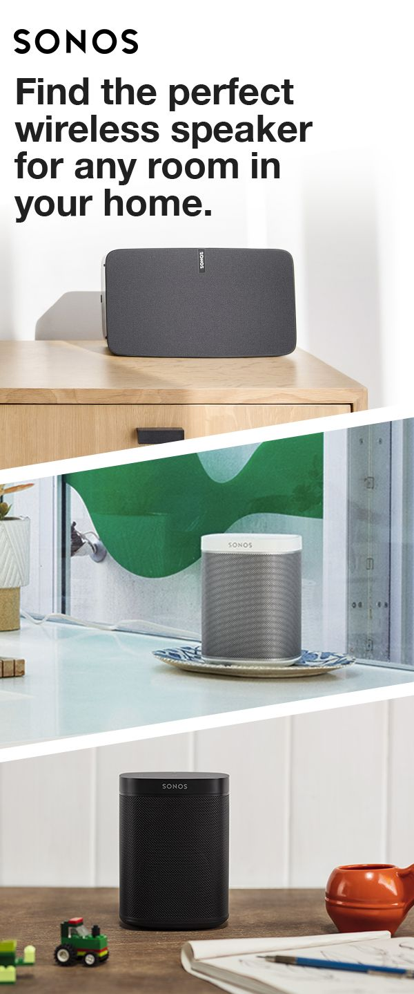 Sonos speakers make music sound great in any room of the house. Whether you're looking for rich, room-filing sound in your bathroom, bedroom, kitchen or even out on your patio, Sonos has the speakers that are right for you.