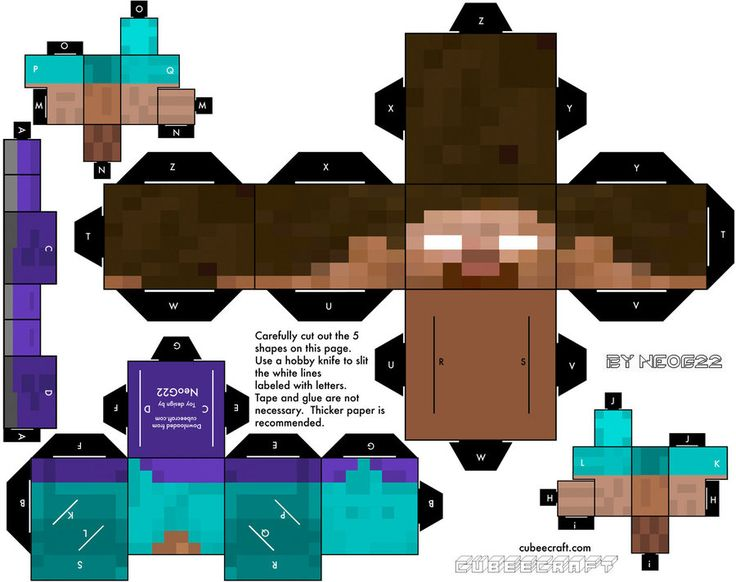 Minecraft Herobrine paper cut out. Might be great for
